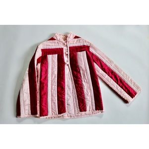 Vintage 80s Club Kid Striped Pink Lace Puffer Coat